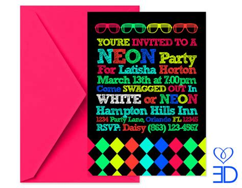 printable neon birthday invitations neon party collection printable 5x7 by eccentricdesignsbylh