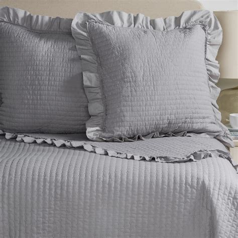 Blue Quilted Pillow Shams by Fleur De Lis Blue Circle Dot Ruffled Quilted Pillow Shams Set Of 2 Save 88