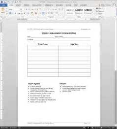 management review meeting record iso template