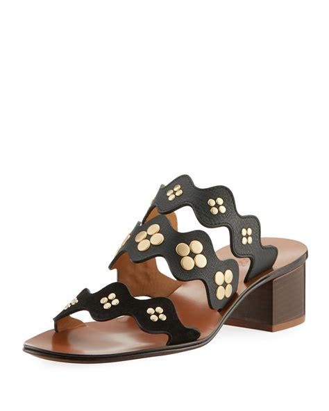 Block Heel Slide Sandals studded block heel slide sandal neiman