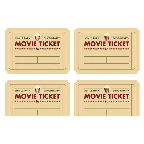 printable pretend tickets printable movie ticket invitation from today s parent