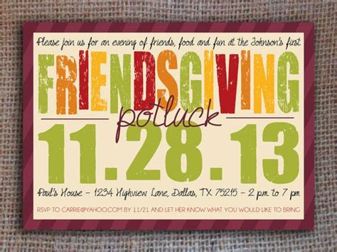 Friendsgiving Potluck Invitation Thanksgiving Printable Digital File Pinterest Friendsgiving Invitation Free Template