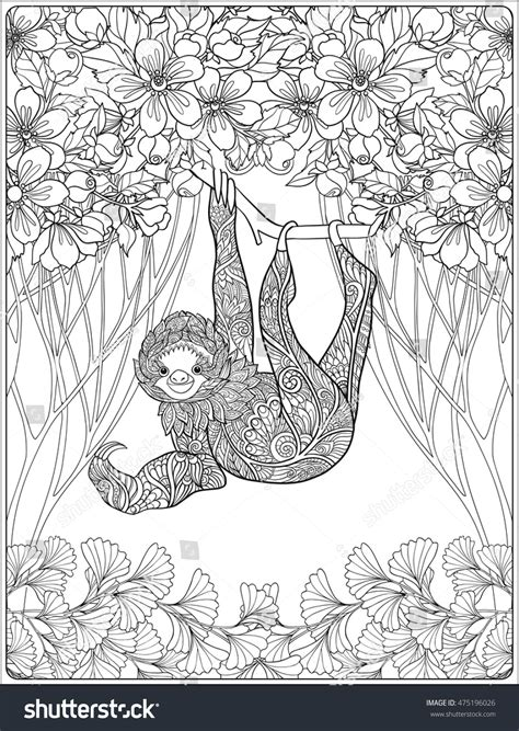 a hilarious sloth coloring book for adults and books coloring page lovely sloth forest coloring stock vector
