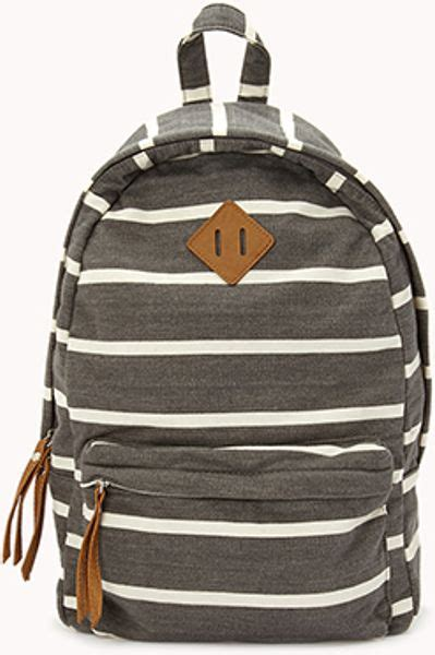 Striped Backpack forever 21 classic striped backpack in gray grey white