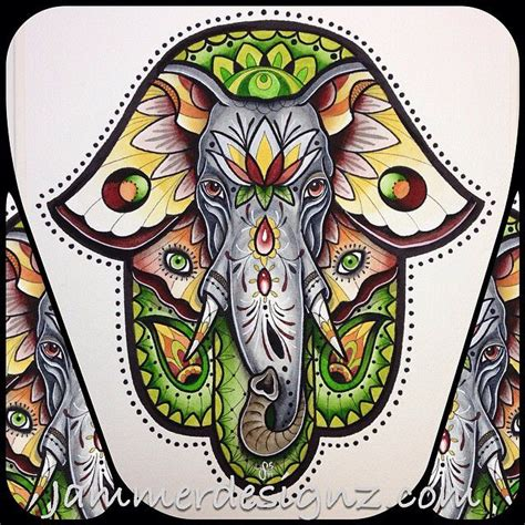 ganesh hamsa tattoo elephant colour tattoo inspiration pinterest tattoo