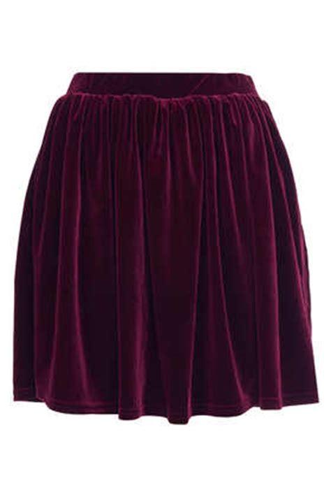 burgundy velvet skater skirt topshop