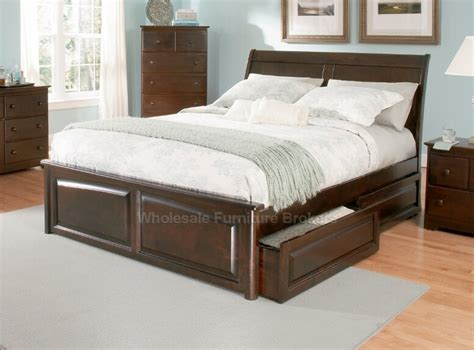 Elevated Platform Bed With Storage Bordeaux Walnut Platform Storage Bed With Raised Panel
