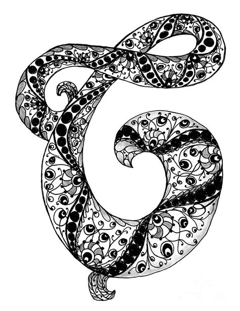 Letter C Monogram In Black And White Drawing by Nan Wright