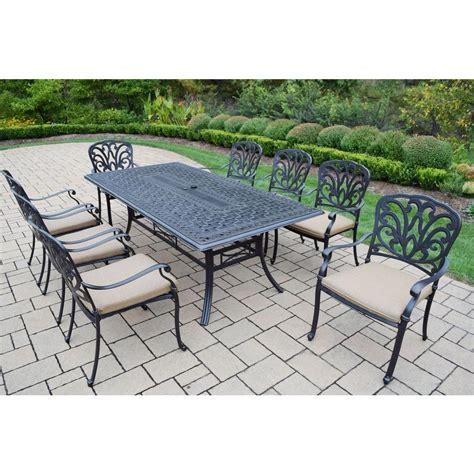 oakland living cast aluminum 9 piece rectangular patio