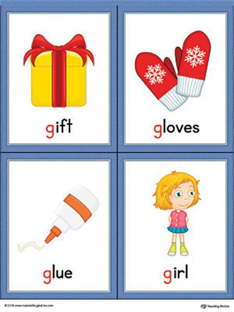 Gift Items Starting With Letter J letter g words and pictures printable cards gift gloves