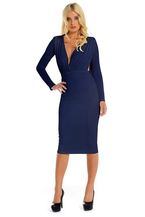Cayla Dress navy blue draped back midi dress cayla