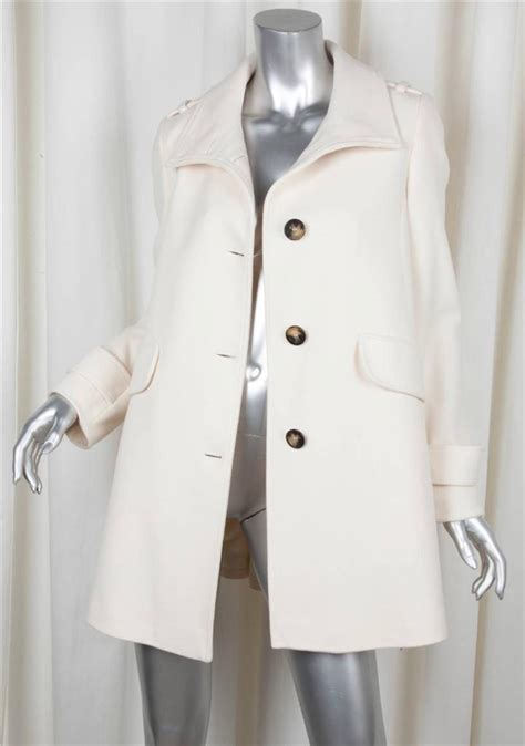burberry swing coat burberry womens classic ivory wool long sleeve long swing