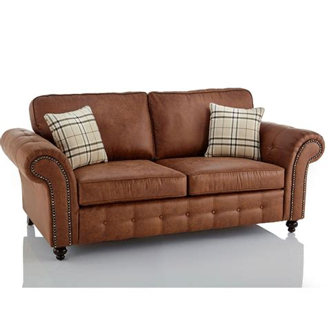3 seater brown leather sofa oakland faux leather 3 seater sofa in brown just on it