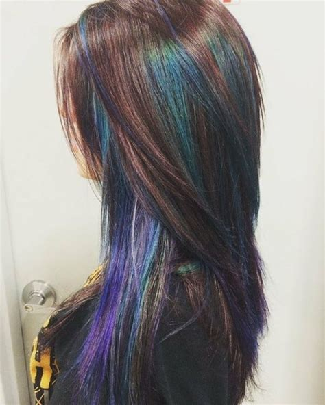 how to add colour chunks to hairstyles picture of dark chestnut hair with emerald and amethyst