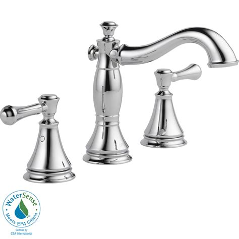 chrome bathroom fixtures shop delta cassidy chrome 2 handle widespread watersense bathroom faucet drain included at