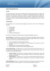 quality management template quality management plan exle