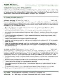 Technical Support Team Leader Sle Resume by Exle Accounting Team Lead Resume Free Sle