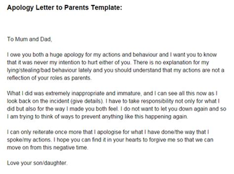 Apology Letter From Parent To For Not Doing Homework Apology Letter To Parents Template Just Letter Templates