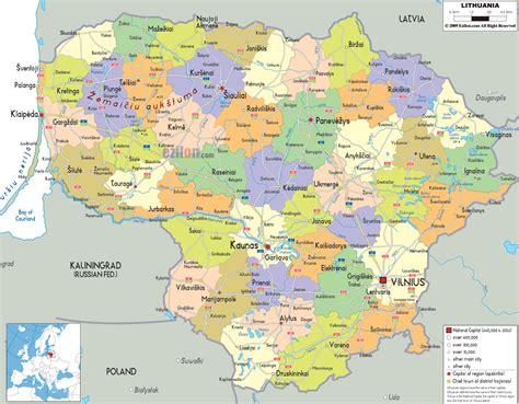 lithuania world map detailed political map of lithuania ezilon maps