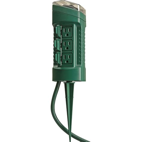 Woods 13547 6 Outlet Outdoor Power Stake W Mechanical Tree Light Timer