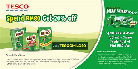 Tesco Voucher Giveaway - tesco milo products 20 discount using lazada voucher code minimum purchase rm80