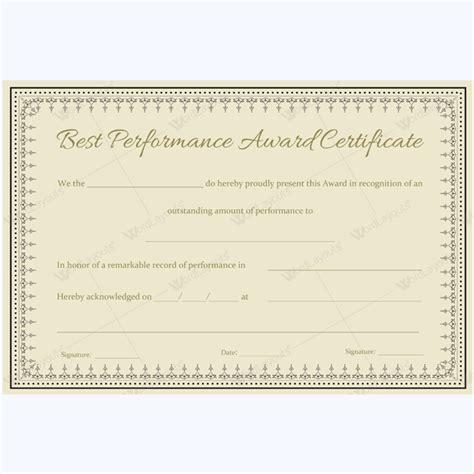 best performance certificate template 89 award certificates for business and school events