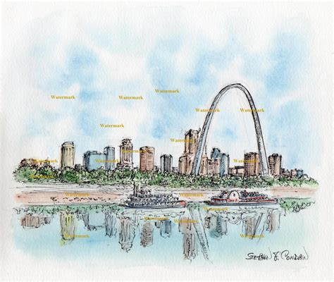 watercolor tattoo st louis st louis skyline watercolor painting of downtown on the