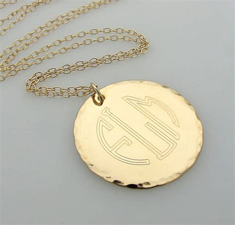 initial monogram pendant engraved gold monogram necklace