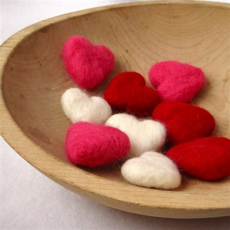 felt hearts felted pebbles wool s day