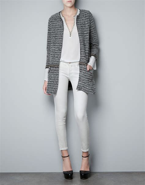 zara knit zara boucle knit coat with chains in gray lyst