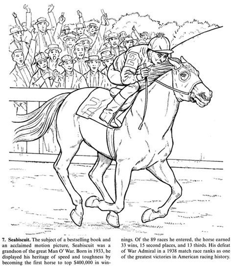 coloring pages of race horses horse coloring page of the famous seabiscuit adult color