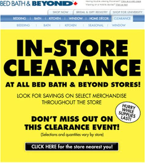 bed bath beyond in store clearance sale toronto deals
