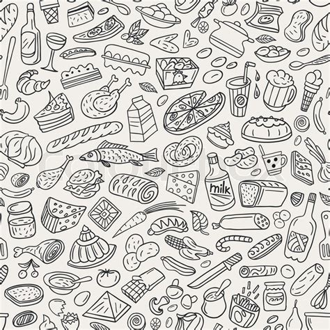 seamless pattern sketch food cookery seamless pattern stock vector colourbox