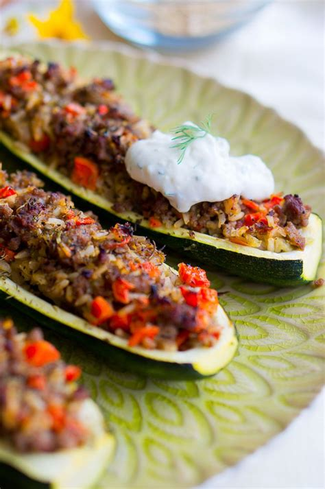 stuffed zucchini boats healthy stuffed zucchini boats with garlic sauce delicious meets