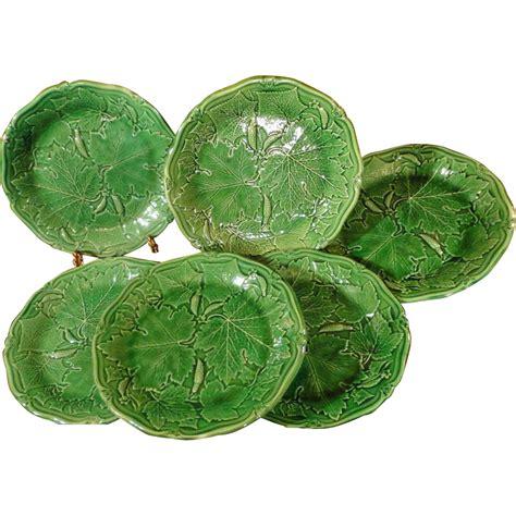 vintage leaf pattern antique english majolica plates greenware squash leaf