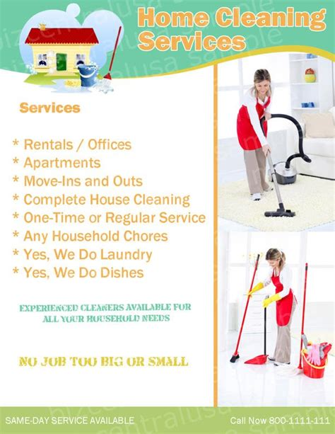cleaning services advertising templates flyer sles charitynet usa