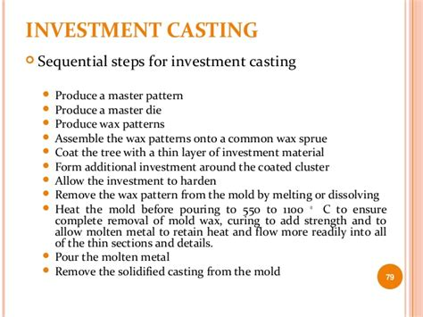 pattern in investment casting 3 expendable mold casting