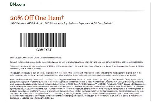 barnes & noble coupon code 2018