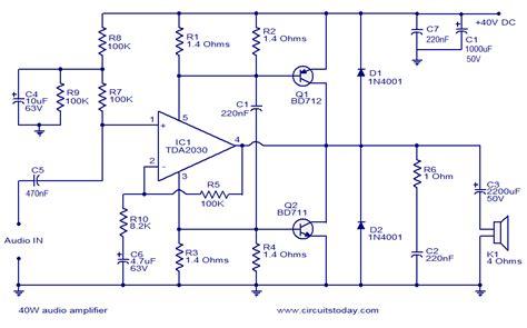 audio lifier circuit diagram with layout gt circuits gt 40w audio lifier l36961 next gr
