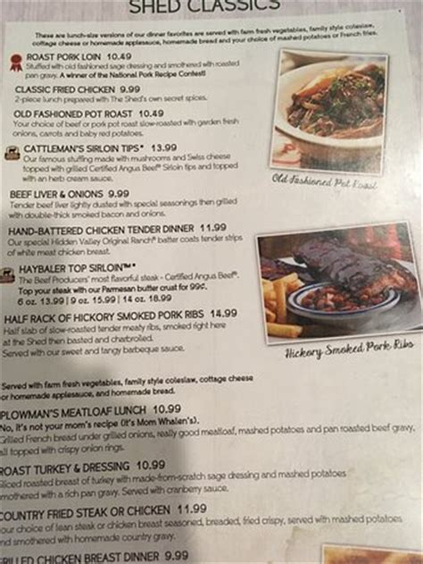 Shed Menu by Burger And Sandwich Menu Picture Of Iowa Machine Shed