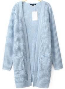 Lighting Sweater Cardigan Light Blue Cardigan Waffle Knit Line