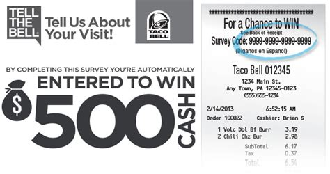 Tell The Bell Sweepstakes - taco bell survey sweepstakes complete the survey and win 500 cash