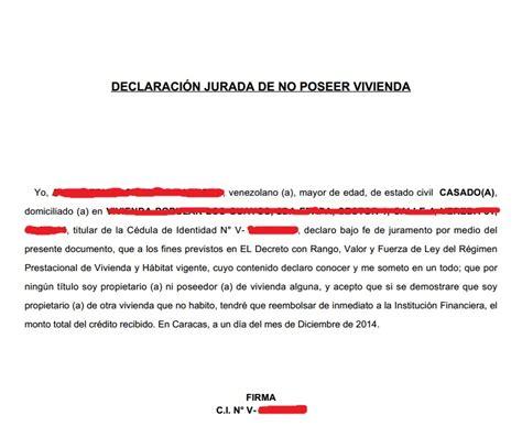 modelo actualizado de carta de no poseer vivienda c 243 mo hacer la declaraci 243 n jurada de no poseer vivienda en