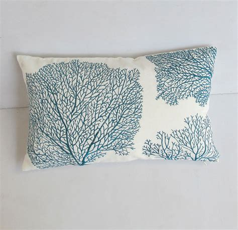 Blue Coral Pillow by Teal Blue Coral Pillow Teal And White Pillow Coastal Pillow