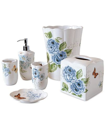 Lenox Bathroom Accessories Lenox Blue Floral Garden Bath Collection Bathroom Accessories Bed Bath Macy S