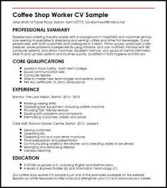 Coffee Shop Resume Sle by Coffee Shop Worker Cv Sle Myperfectcv