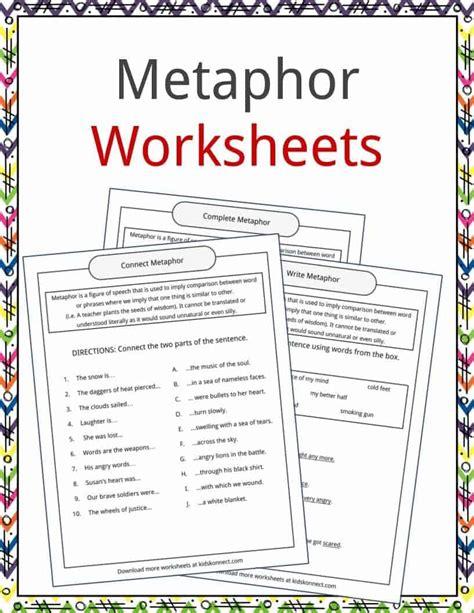 Metaphors Worksheets by Metaphor Exles Www Pixshark Images Galleries