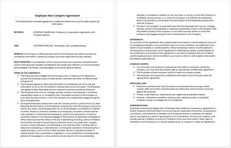 employee non compete agreement template image gallery non compete agreement