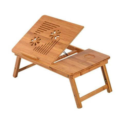 bamboo wood contour lap desk homcom foldable bamboo wood laptop stand notebook desk