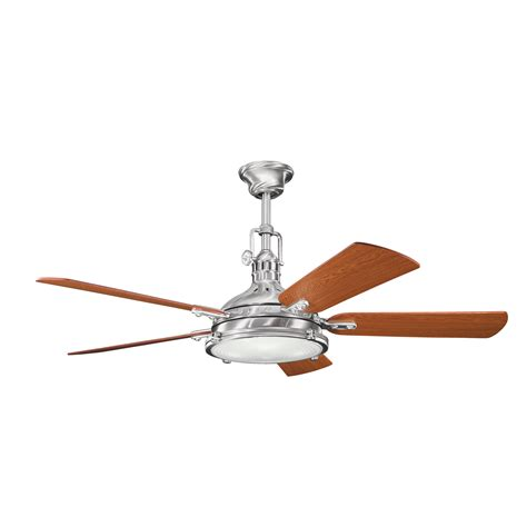 brushed steel ceiling fan with light hatteras bay 56 quot brushed stainless steel ceiling fan with